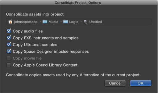Figure. Consolidate Project dialog.