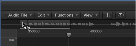 Figure. Sample Editor with the Prelisten icon over the waveform overview.