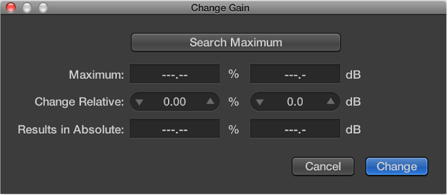 Figure. Change Gain dialog.