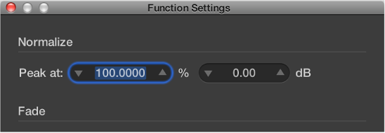 Figure. Function Settings dialog.