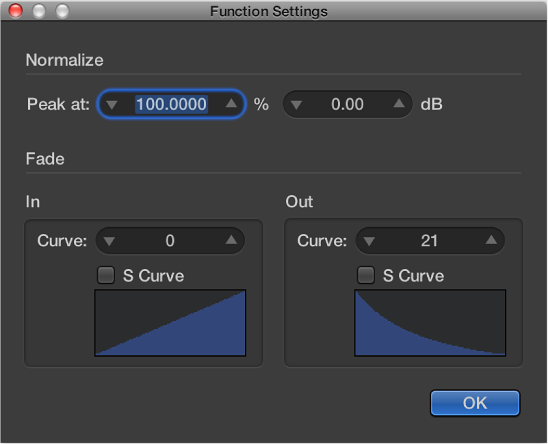 Figure. Function Settings window with edited curve value on Fade Out.