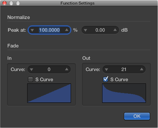 Figure. Function Settings window with s-shaped curve on Fade Out.