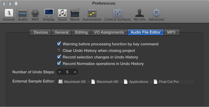 Figure. Sample Editor pane in the Audio preferences.