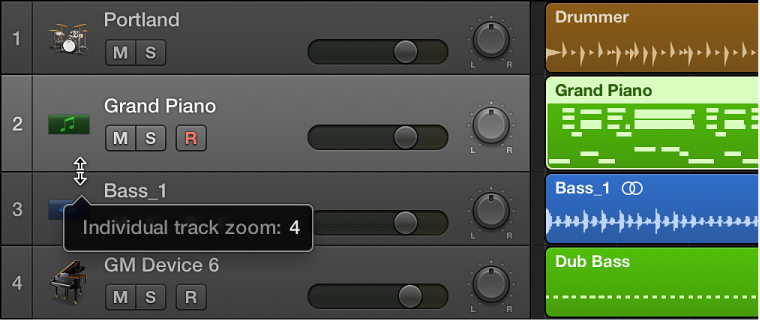 Figure. Zooming a track in the track header.