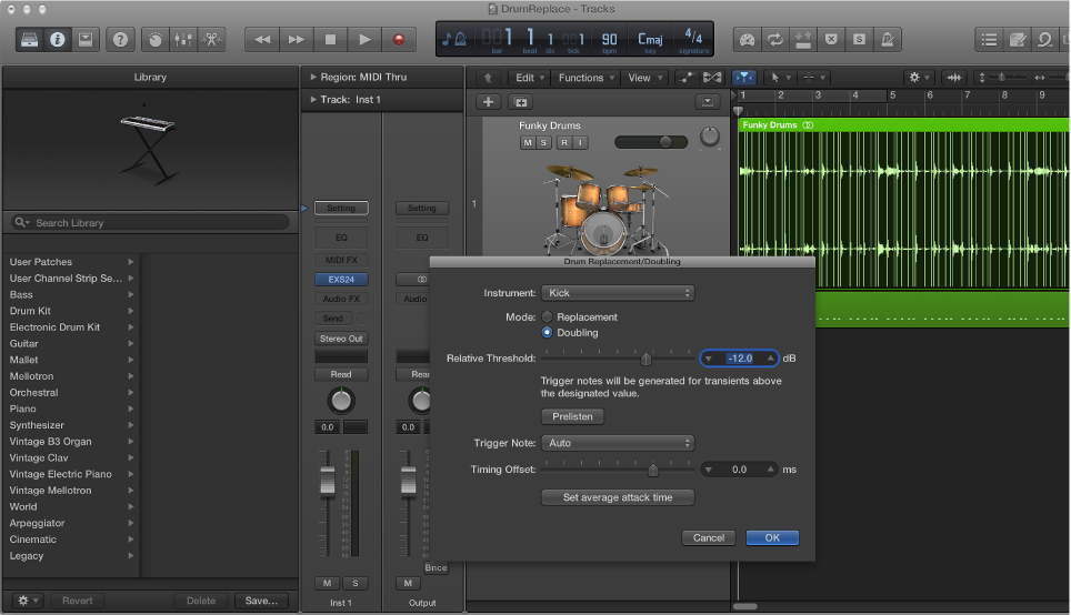 Figure. Tracks area with audio track zoomed, Library open showing drum sounds, and Drum Replacement/Doubling dialog open.