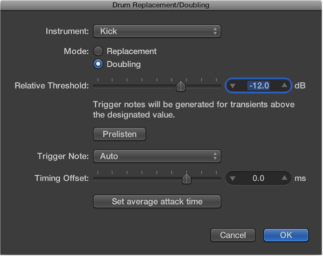 Figure. Drum Replacement/Doubling dialog.