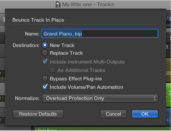 Figure. Bounce Track in Place dialog.