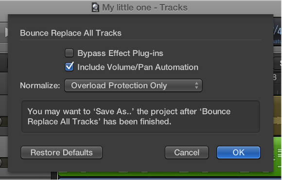 Figure. Bounce Replace All Tracks dialog.