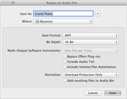 Figure. Region as Audio File dialog.