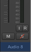 Figure. Showing a Solo button with a red slash to indicate solo-safe.