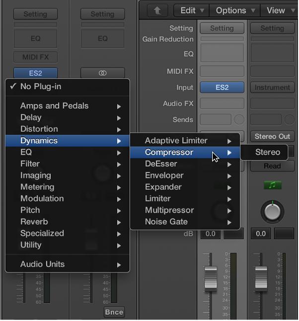 Figure. Choosing an audio effect from the pop-up menu.