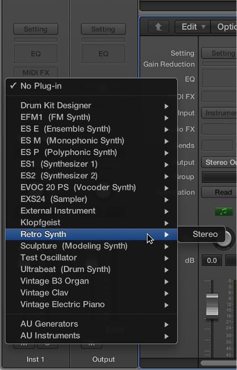 Figure. Choosing an instrument from the pop-up menu.