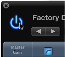 Figure. Pointing to the Bypass button in the plug-in window header.