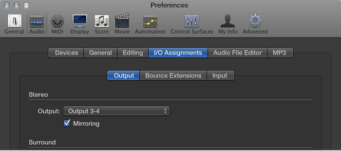 Figure. Output pane in the I/O Assignments pane in the Audio preferences.