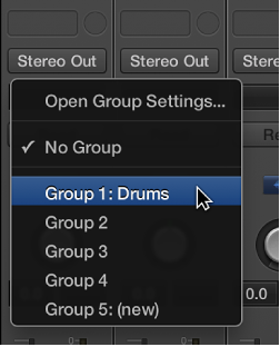 Figure. Group slot, showing channel strip group membership.