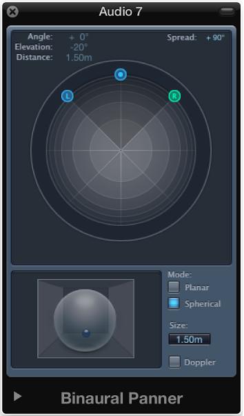 Figure. Spherical mode in the Binaural Panner window.
