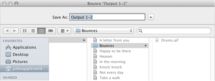 Figure. File name and folder settings in the Bounce window.