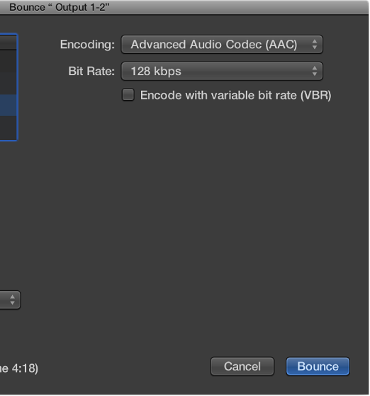 Figure. M4AAAC Format options in the Bounce window.