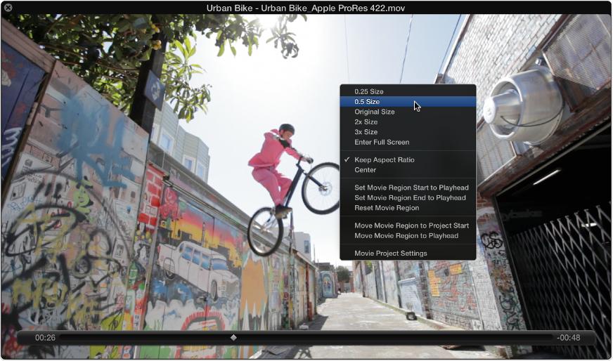 Figure. Movie window showing image formats in the shortcut menu.