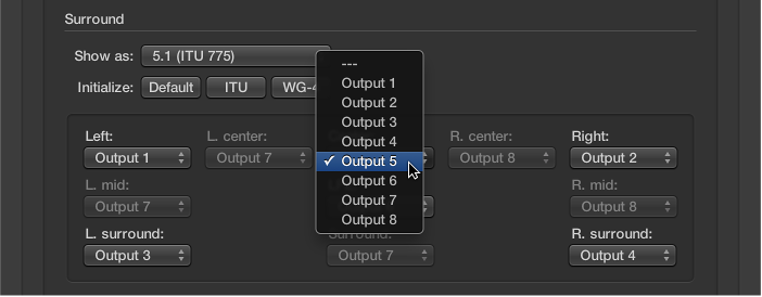 Figure. Output pop-up menu in Surround preferences.