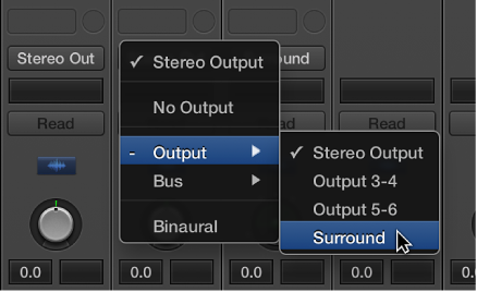 Figure. Choosing Surround from Output pop-up menu on channel strip.