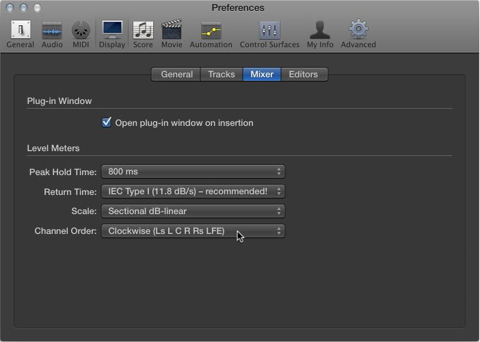 Figure. Mixer Display preferences pane.