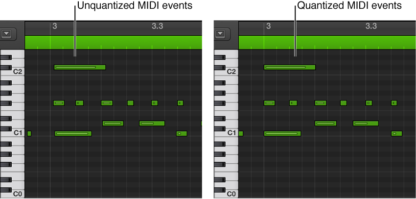 Figure. A pair of images showing unquantized and quantized MIDI events in the Piano Roll Editor.