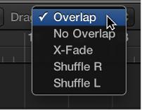 Figure. The Drag pop-up menu for the Tracks area.