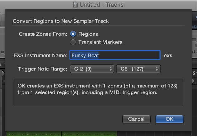 Figure. Convert Regions to New Sampler Track dialog.