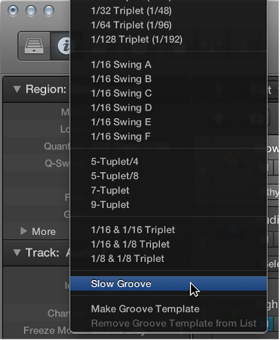 Figure. The default groove template name selected in the Quantize pop-up menu.