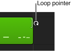 Figure. The Loop pointer appearing over the edge of a region.
