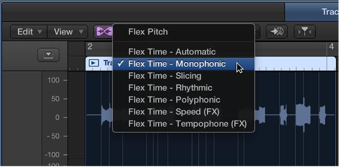 Figure. Showing the Flex pop-up menu open.