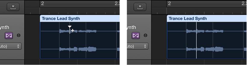 Figure. Audio region showing flex marker creation on top of transient marker.