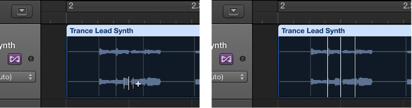 Figure. Audio region showing the creation of three flex markers.