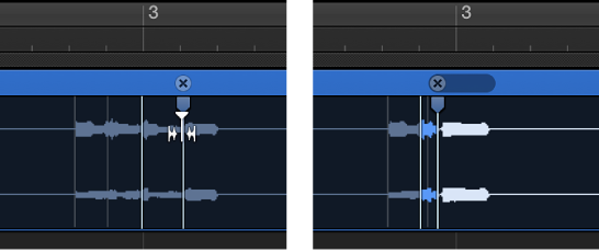 Figure. Two audio regions showing the region before and after a flex marker is moved to the left and overlaps the previous flex marker.