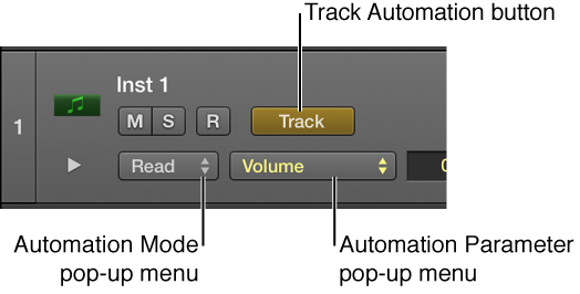 Figure. Showing available Automation Parameter pop-up menu in a track header.