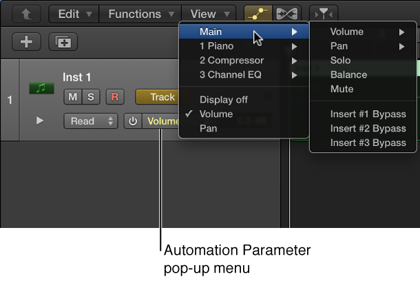 Figure. Showing the Automation Parameter pop-up menu open.