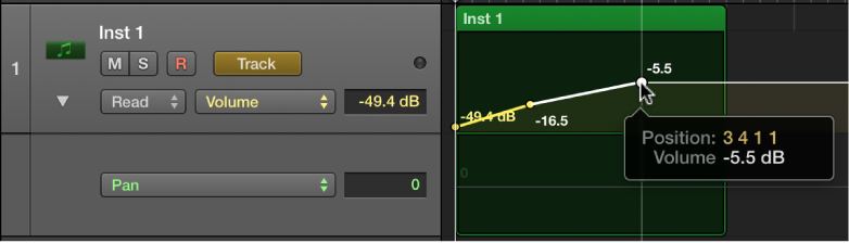 Figure. Showing a track's volume and pan automation.