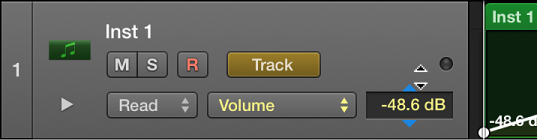 Figure. Dragging the Trim value in the track header's numerical display.