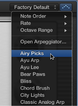 Figure. Arpeggiator pop-up menu in the Smart Controls menu bar.