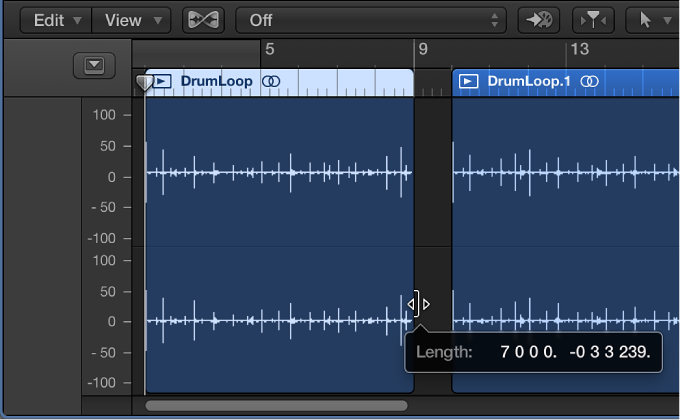 Figure. Trimming region in Audio Editor, showing help tag with region length and trim amount.