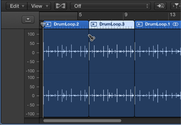 Figure. Splitting region in the Audio Editor using the Scissors tool.