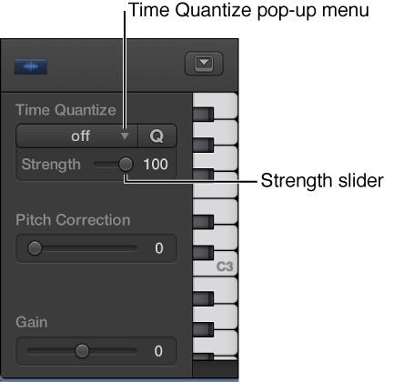 Figure. Time Quantize pop-up menu and Strength slider.