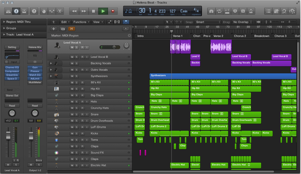 Figure. Logic Pro main window.