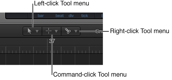 Figure. Left-click, Command-click, and Right-click Tool menus in the Arrange area.