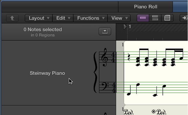 Figure. Instrument name and all regions for instrument track selected in the Score Editor.