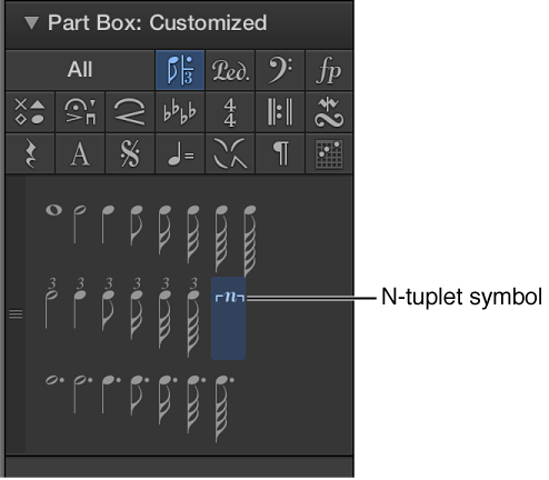 Figure. N-tuplet symbol in the Part box.