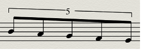 Figure. Example of a five tuplet.