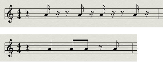 Figure. Interpretation disabled and enabled in the Score Editor.