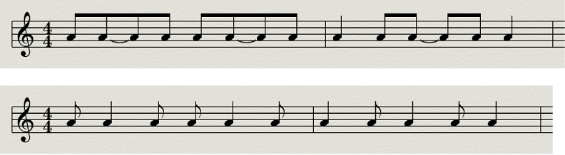 Figure. Syncopation disabled and enabled in the Score Editor.